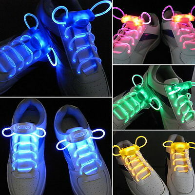 LED Sport Shoe Laces Flash Light Glow Stick Strap Shoelaces Disco Party Club PY