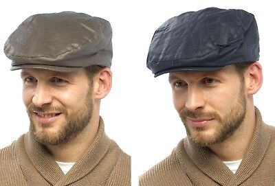 Mens Adults Lined Waxed Showerproof Waterproof Flat Cap Shooting Country Hat