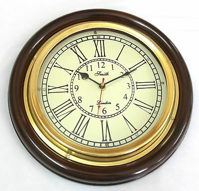 Antique Look Silent Wall Clock, 12 Inch Brass And Wooden