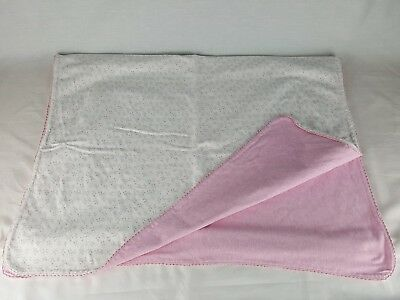 Amy Coe Limited Edition Baby Blanket 100% Cotton Pink White Floral 26x39