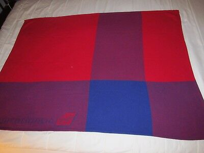 vintage VIRGIN ATLANTIC airline blanket multi color red blue travel throw