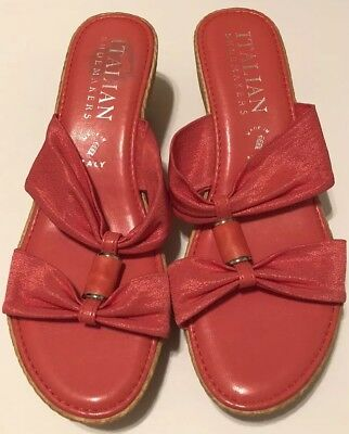 f81746690633 ITALIAN SHOEMAKERS WEDGE Sandals Womens Pink Coral Bright Slip On Sz ...