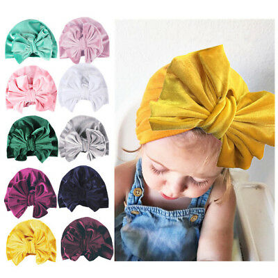 1Pc Newborn Toddler Kids Baby Boy Girls Bowknot Turban Beanie Hat Headwear Hat