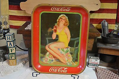 Antique 1932 Coke Coca Cola Girl in Yellow Bathing Suit Serving Tray American AW