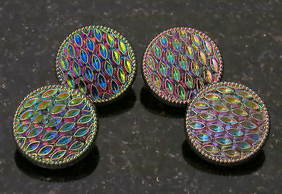 "4 Peacock Buttons Iridescent Glass Made in Germany  3/4"" (18mm) Pink, Blue, Gold"