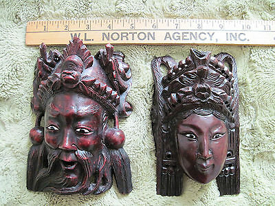 Antique Pair of Male and Female Oriental Chinese Handcarved Wood Mask