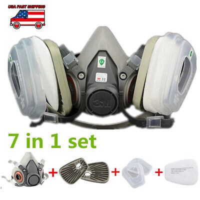 7in1 Half Face Mask Facepiece F 3M 6200 Gas Painting Spray Protection Respirator