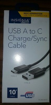 Insignia- 10' USB Type A-to-USB Type C Charge/Sync Cable - Black