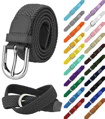 Falari Men Women Canvas Elastic Fabric Woven Stretch Braided Belt - 21 Colors