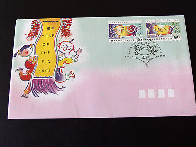 Christmas Is 1995  -Year of the PIG - First Day cover 45c & 85c stamps