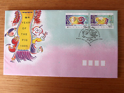 CHRISTMAS IS 1995 Year of the Pig  45c & 85c stamps First Day Cover