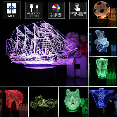 3D Music Art Illusion Lamp Colorful Change LED Night Light Bedroom Party Decor