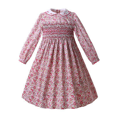 Spanish Floral Girls Smocked Dress Long sleeve Autumn Party Pageant Outfits 2-14