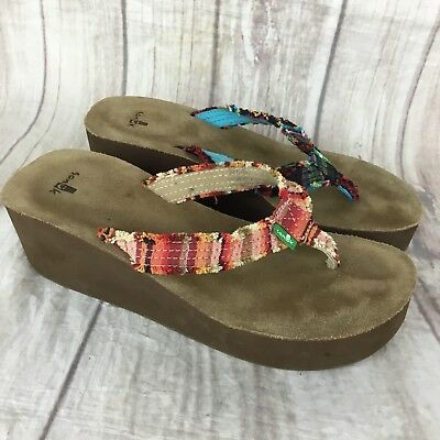 d37b1aa803091a Sanuk Womens Sz 7 Fraidy Cat Wedge Mix and Match Aztec Pattern Flip Flop  Sandals