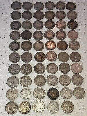 Lot of 59 Newfoundland 50 Cent Coins 1870 to 1919 Silver Key Dates