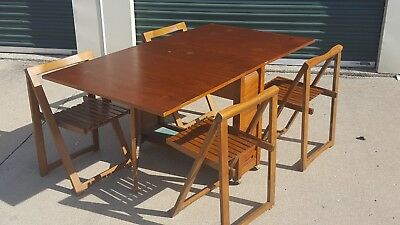 Awesome Vintage Mid Century Romanian Drop Leaf Table W 4 Folding Gmtry Best Dining Table And Chair Ideas Images Gmtryco