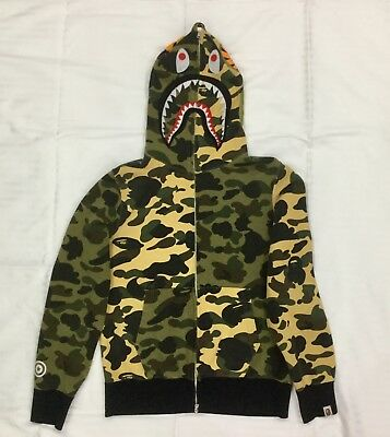 91640451bf87 AUTHENTIC A BATHING APE BAPE 1ST CAMO HALF SHARK FULL ZIP HOODIE Size M  adult