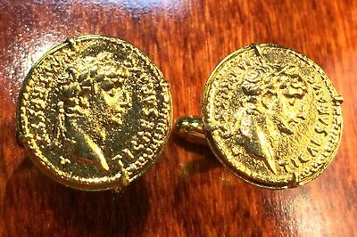 Ancient Roman Emperor Tiberius Gold Plated Rome Coin Cufflinks + Gift Box!!