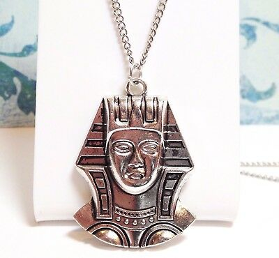 "PHARAOH_Pendant on 18"" Chain Necklace_Egypt King Pyramid Mummy Ancient Tut_219N"