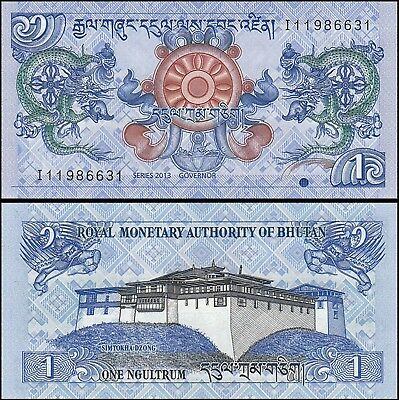 Bhutan Currency Banknote 1 Ngultrum 2013 P-27b UNC dragon palace prayer wheel