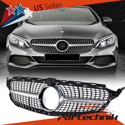 Diamond Front Grille for Mercedes Benz W205 new C class SILVER + CHROME