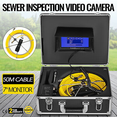 50M Cable Pipe Inspection Camera Kit IP68 Water-Proof 7 LCD Screen HD HOT