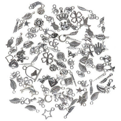 Wholesale 100pcs Bulk Lots Tibetan Silver Mix Charm Pendants For DIY Bracelets