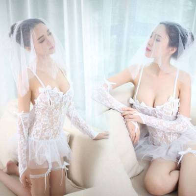 Womens Wedding Bride Lingerie Set Sexy Babydoll Costume Lace Mesh Evening Dress
