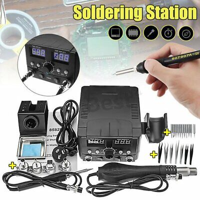 2 IN1 LCD Solder Station Soldering Iron Desoldering Rework Hot Air Heater Kit MY