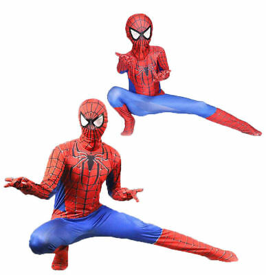 AU Cosplay Jumpsuit Amazing Red Spiderman Costume Tights Suit for Adults or Kids
