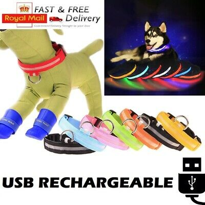 USB Rechargeable LED Dog & Cat Pet Collar Flashing Luminous Safety Light Nylon