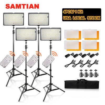 4pcs 240LED Video Photography Camera Light +Battery+Light Stand+Remote+Carry Bag