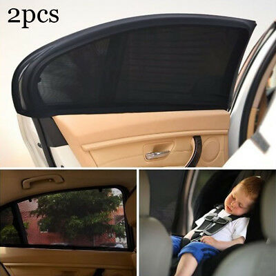 2x Car Sun Shade Cover for Rear Side Window Provides Max UV Protection Black US