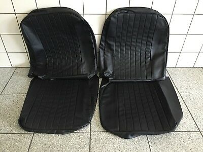Seat cover set MGB '73 - '80 black vinyl, made in the UK