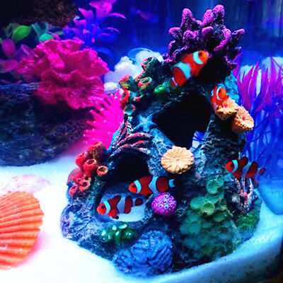 Colorful Resin Coral Mountain View Cave Stone Landscape Aquarium Fish Tank
