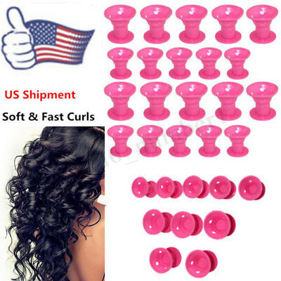 10x Silicone Magic Hair Curlers Formers Styling Rollers No Heat Clip DIY Tool US