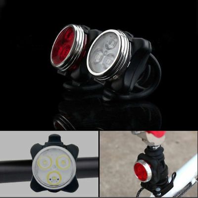 IPX4 Waterproof Bicycle Bike Lights Front Rear Tail Light Lamp USB Rechargeable