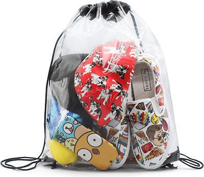 """Clear Gym Drawstring Bags for Stadium,Travel - Waterproof Backpack - 14""""x17"""""""