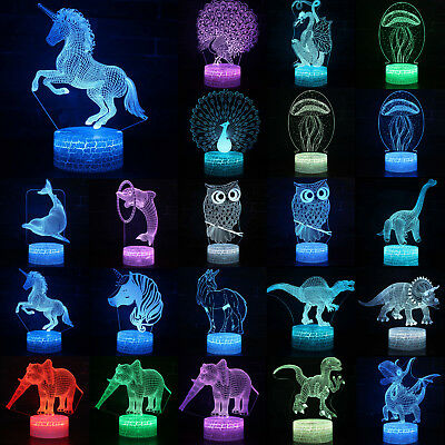 3D LED Horse Dinosaur Animals Illusion Night Light 7 Color Change Desk Lamp Gift