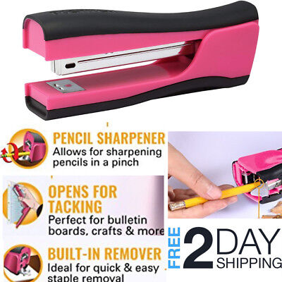 Pink Stapler With Built In Staple Remover Attached Paper Desk Desktop Bostitch