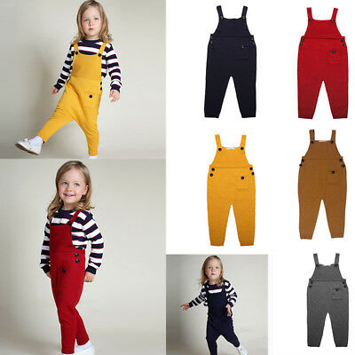 Boys and Girls 100% Cotton Knitted Suspenders Overalls Children Unisex