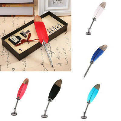 Retro Vintage Feather Metal Nibbed Pen Dip Writing Quill Steel Tips Gift Box Set