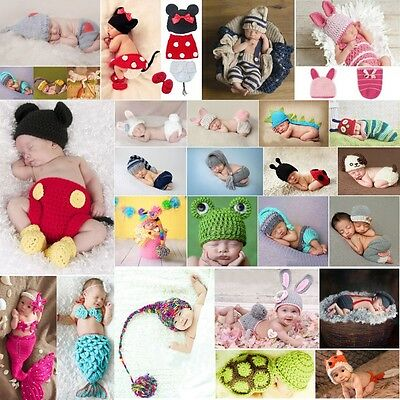 Newborn Baby Girls Boy Crochet Knit Costume Photo Photography Prop Hats Outfits