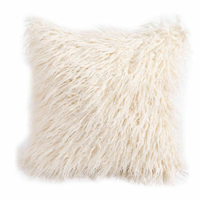 Super Soft Plush Mongolian Faux Fur Throw Pillow Cover Cushion Case 18*18 Inch