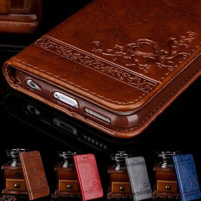 Genuine Leather Flip Wallet Phone Case Cover for iPhone 6 7 Plus Samsung NotePA