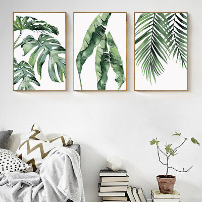 Cn_ Modern Tropical Plant Leaves Canvas Painting Wall Living Room Home Decor B