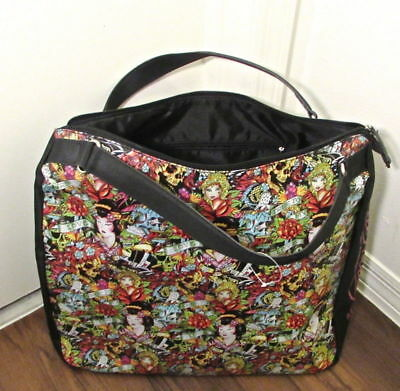 be39eacbe9 NEW Ed Hardy by Christian Audigier True to my Love Kiss of Death Geisha Zip  Tote