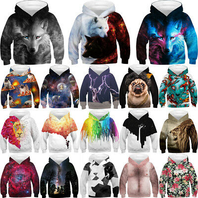 Boys Girls Hoodie 3D Print Sweater Sweatshirt Jacket Coat Pullover Graphic Tops