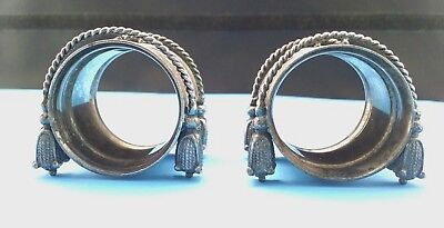 Pair of Antique Silver Plate Cord and Tassle Napkin Rings
