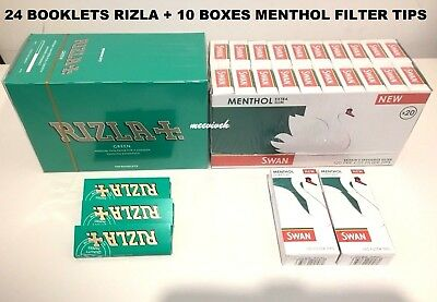 1200 Rizla Green Rolling Papers & 1200 Swan Menthol Extra Slim Filter Tips